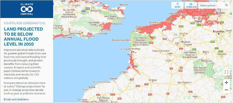 Les zones en rouge seraient soumises à des inondations annuelles d'ici 2050