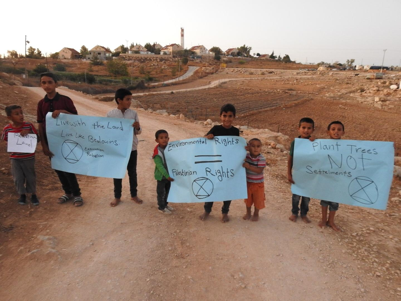 Manifestation contre le réchauffement et les restriction d'eau Umm al Khair, Cisjordanie