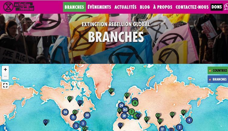 La carte interactive des branches d'Extinction Rebellion dans le monde