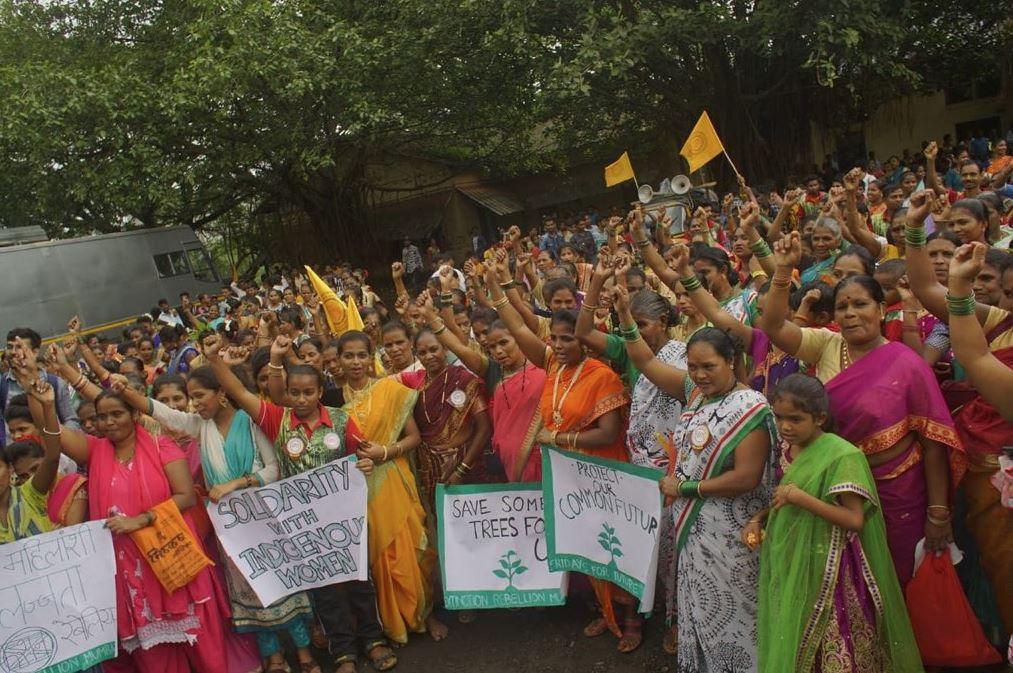 Manifestation d'XR India le 10 août dans la région de la forêt d'Aarey, en solidarité avec la marche des femmes des peuples indigènes du Brésil